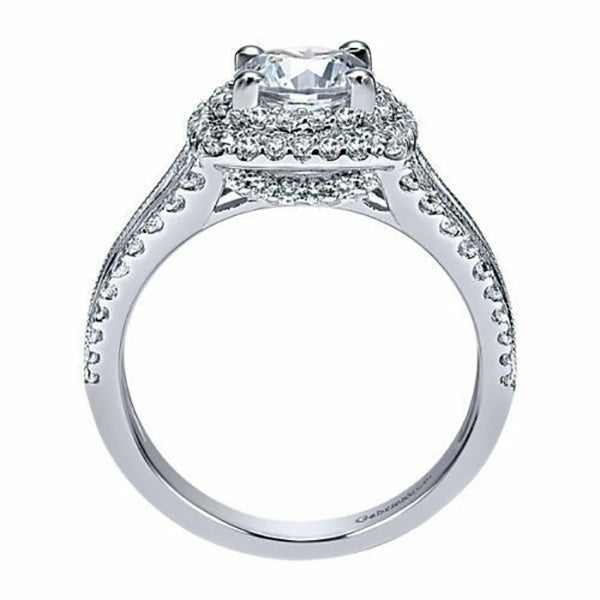 Luxury 925 Sterling Silver Engagement Ring Round Cut 3.5CT Diamond Halo White Gold Jewelry Natural Gemstone Wedding Band Anniversary Gift Daily Casual Accessory Rings for Women Bride Size 6-10