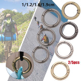 2/5pcs Zinc Alloy Plated Gate Spring O-Ring Buckles Clips Carabiner Purses Handbags Round Push Snap Hooks Carabiner