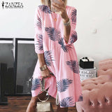 Plus Size 4 Colors Women Crew Neck Leaf Printing Short Dress Summer Casual Oversize Dress
