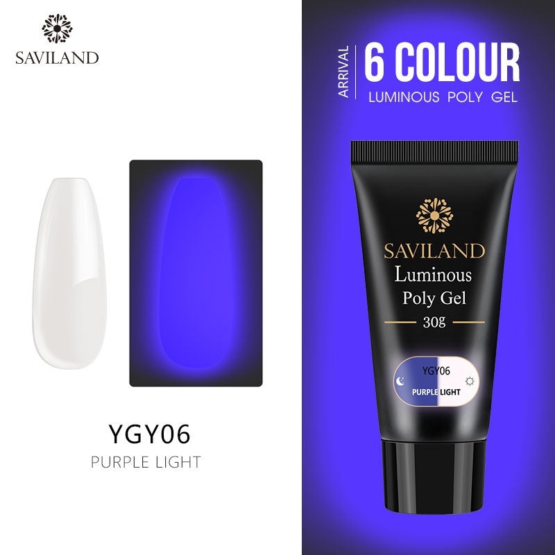 30g Fluorescent Neon Luminous extension glue Nail Design Night Glow in Dark UV Finger Extension Gel 6 color optional