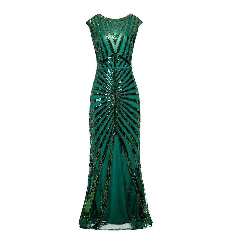 Women Elegant 1920s Flapper Dress Vintage Roaring Great Gatsby Charleston Sequin Tassel Dress 20s Party Evenign Dress
