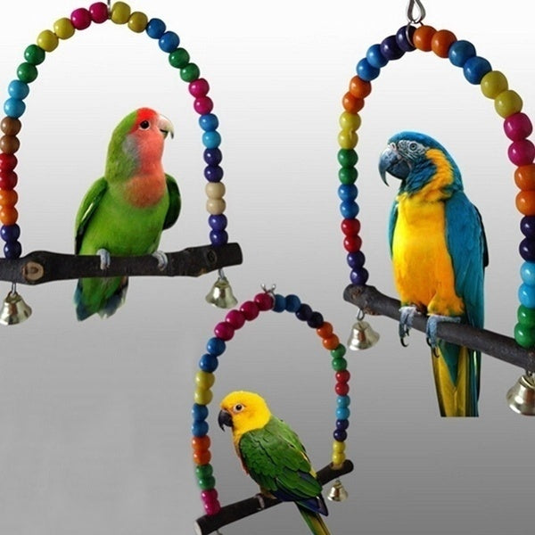 Bird Parrot Wooden Hanging Cage Swing Pet Toys Bird Stand 1PC
