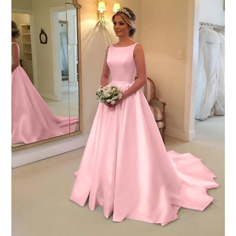 Sweet Girls Long Formal Satin Floor Length Trumpet Prom Dress Sleeveless Backless Bridal Gowns Wedding Party Dress Plus Size S-5XL