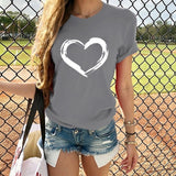 New Women's Fashion Love Print Short-sleeved Round Neck T-shirt Summer Casual Cotton Tees Tops Plus Size