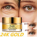 24K Gold Anti puffiness Anti aging Moisturizing Remove Dark Circles Anti Wrinkle Anti-Age Eye Cream Eye Serum Essence Peptide Collagen Serum Eye Care Against Puffiness And Bags Skin Care