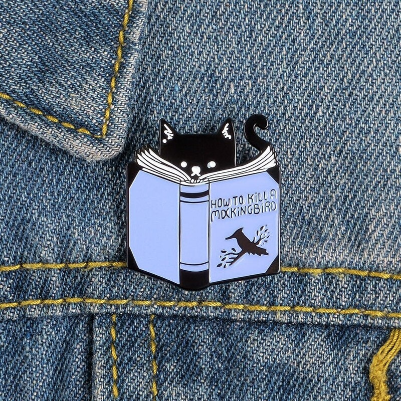 Reading Cat Enamel Pin How To Kill A Mocking Bird Funny Cat Pin Book Literary Badges Brooches for Reading Lover
