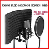 Newest Folding Studio Microphone Isolation Shield Recording Sound Absorber Foam Panel