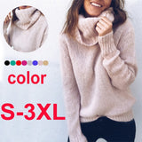 WXDZ Women Fashion Soild Color Long Sleeve Turtleneck Neck Sweaters Women Pullovers Jumper
