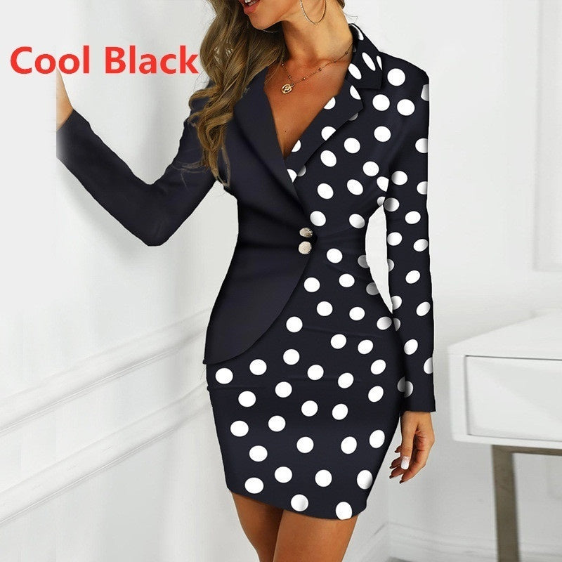 Fashion Elegant Women  Slim Evening Party Midi Dresses OL Style Long Sleeve Formal Blazer Bodycon Dress for Women