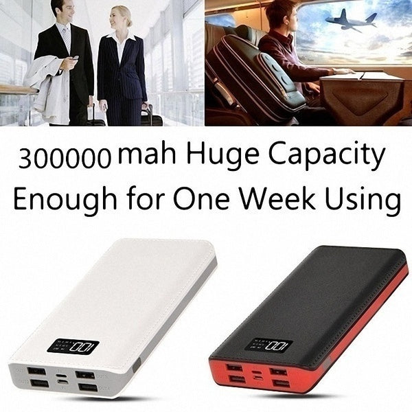Fashion Portable 9900,000mAh Power Bank  4-USB Ports External Battery Power Bank with LCD Display with LED Digital Display  for Smart Phone