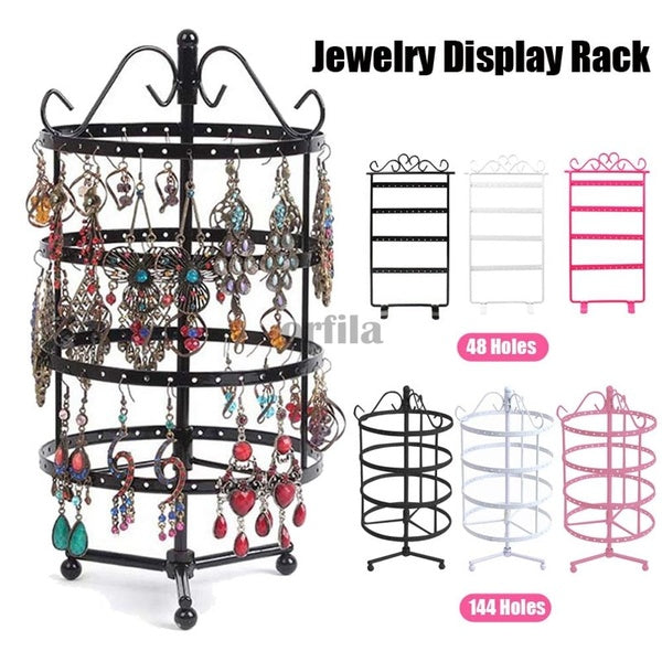 Round Shaped Metal Earrings Holder 48/144 Holes 4 Tiers Women Jewelry Display Rack