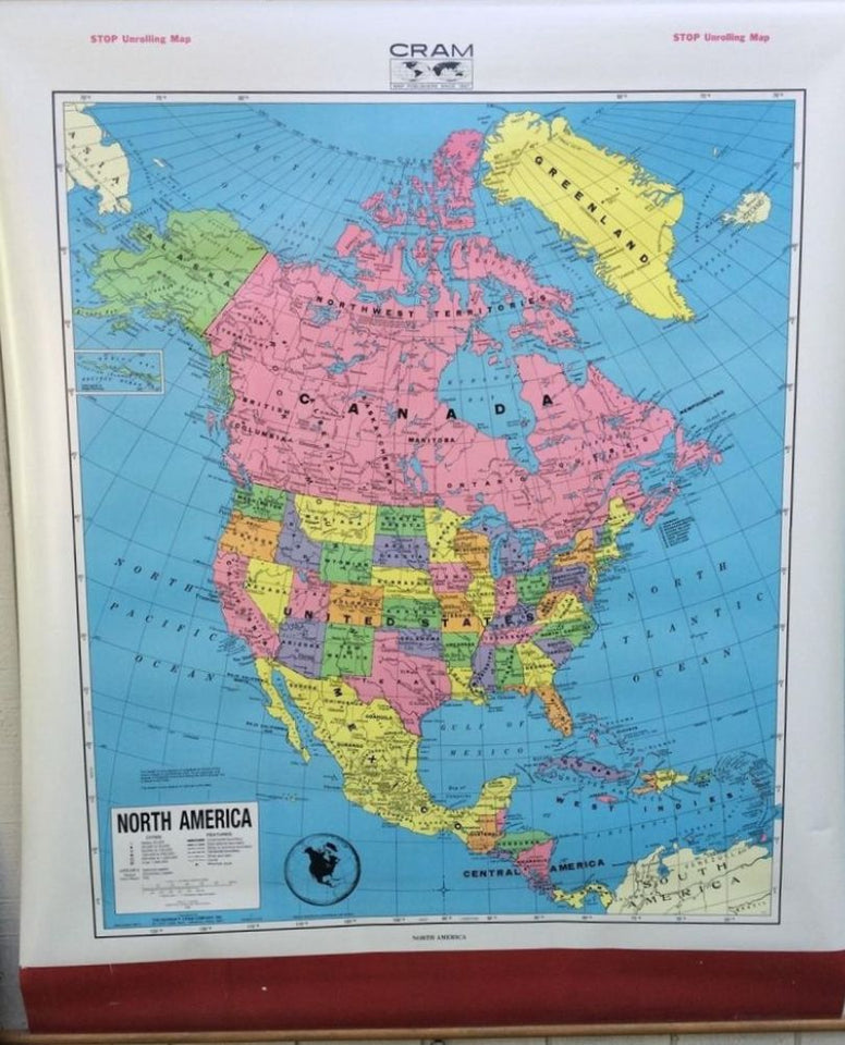 Colorful map of the North American continent, each state and country is a diffrent color.