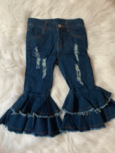 Load image into Gallery viewer, Ruffle distressed denim