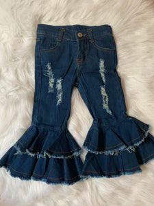 Ruffle distressed denim