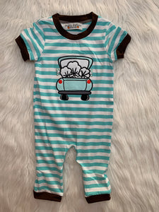 Boy Truck cotton romper