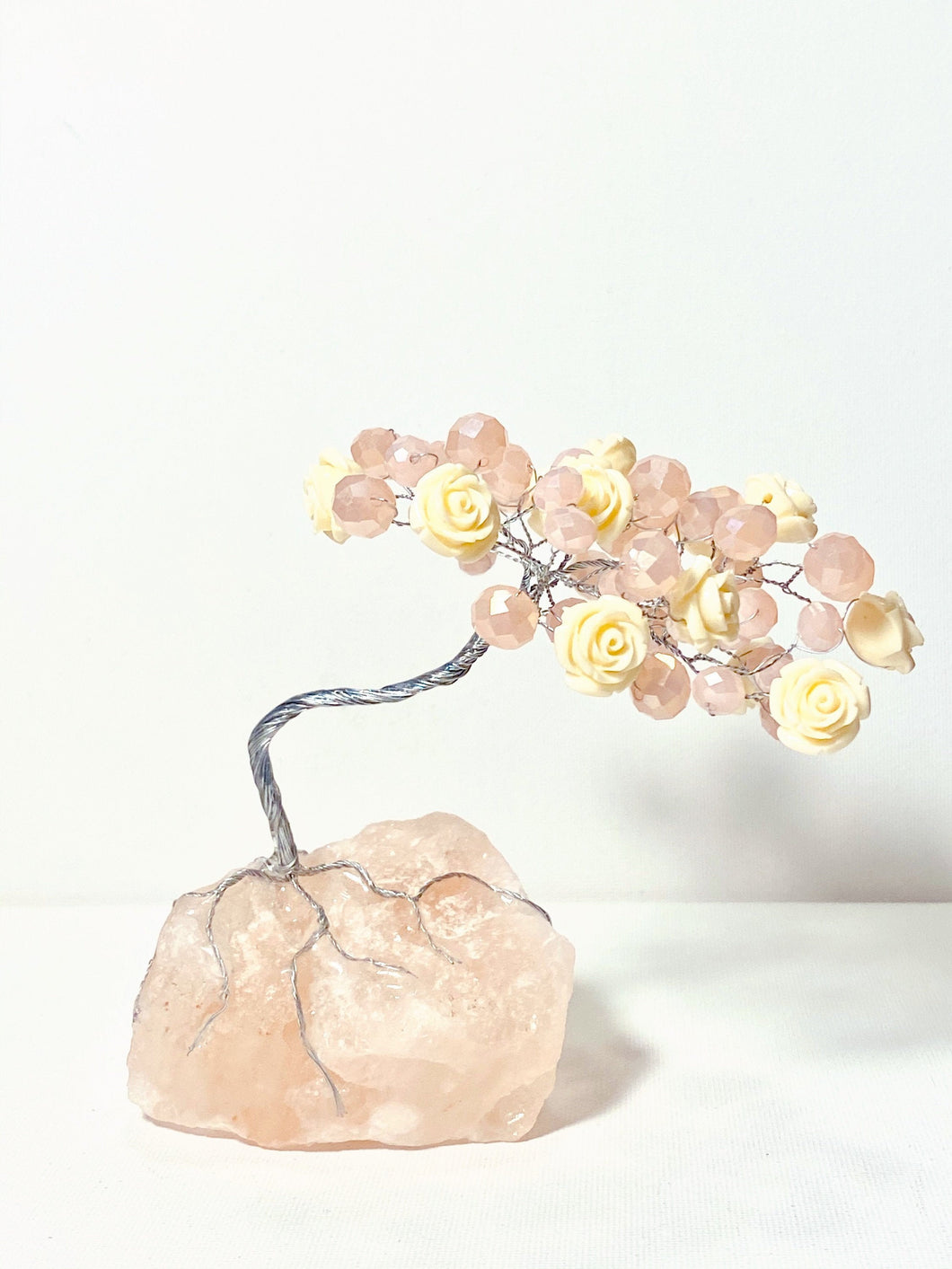 Roses and pink beads on Himalayan Salt Rock SECRET GARDEN