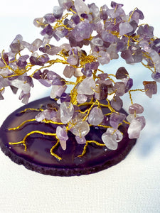 Amethyst on Purple Agate slice SELF CONFIDENCE