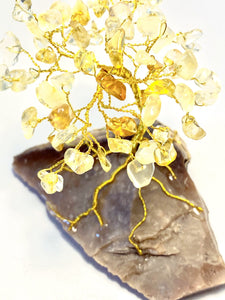 Citrine on Prehistoric Flint Stone FIRE OF LIFE