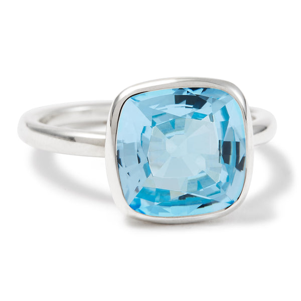 The Grace (Cushion Cut Blue Topaz in Silver)