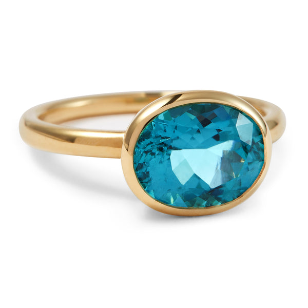 The Anna May (Oval Cut Blue Tourmaline in 18ct Gold)