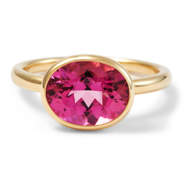 The Sophie (Oval Cut Hot Pink Tourmaline in 18ct Gold)