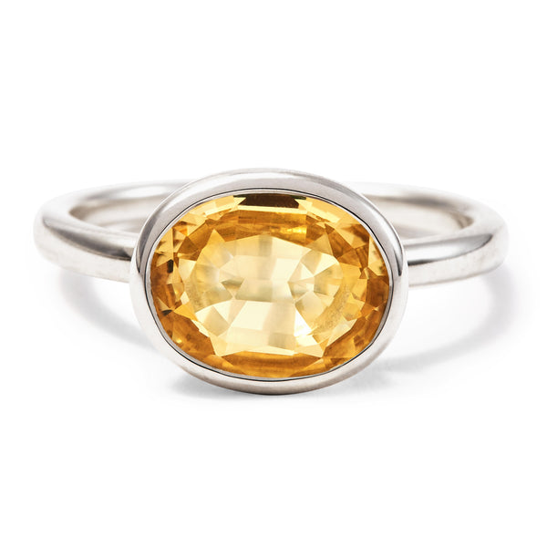 The Meena (Oval Cut Light Citrine in Silver)