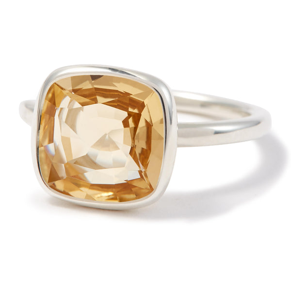 The Meena (Cushion Cut Light Citrine in Silver)
