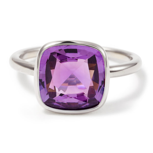 The Eva (Cushion Cut Amethyst in Silver)