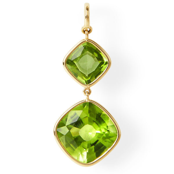The Anderson Earrings (Cushion Cut Peridot Double Drop Earrings in 18ct Gold)