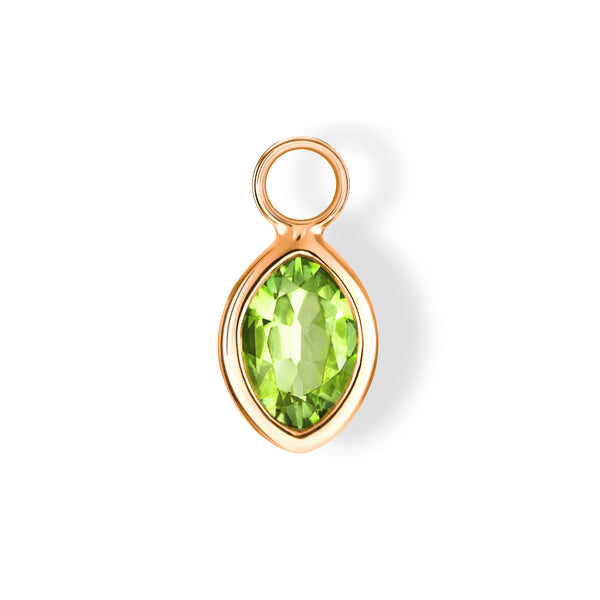 The Anderson Charm (Moval Cut Peridot in 18ct Rose Gold)