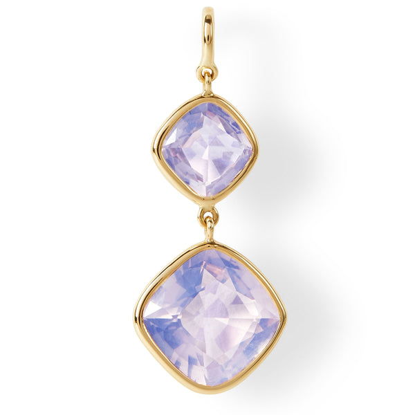 The Betty Earrings (Cushion Cut Lavender Quartz Double Drop Earrings in 18ct Gold)