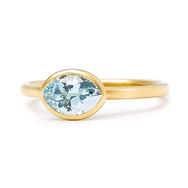 The Grace - Baby (Moval Cut Blue Topaz in 18ct Gold)