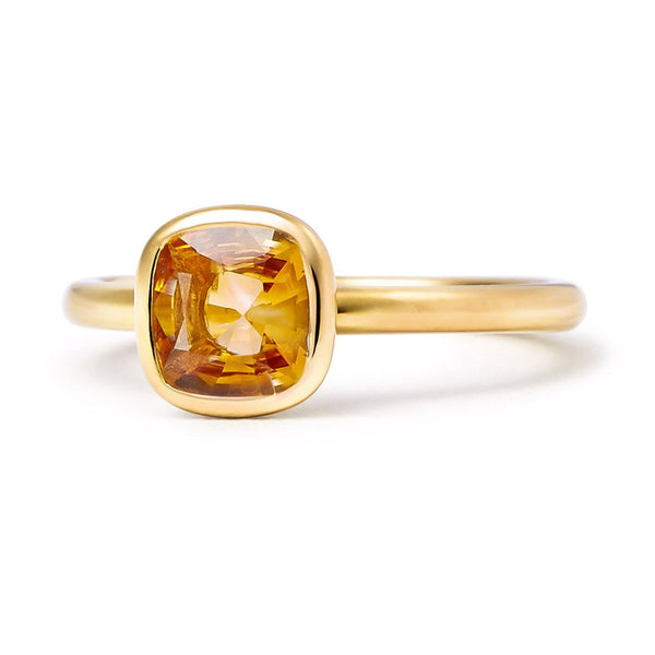 The Josephine - Baby (Cushion Cut Dark Citrine in 18ct Gold)