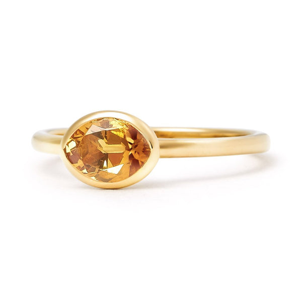 The Josephine - Baby (Moval Cut Dark Citrine in 18ct Gold)