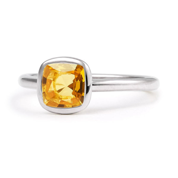 The Josephine - Baby (Cushion Cut Dark Citrine in Silver)