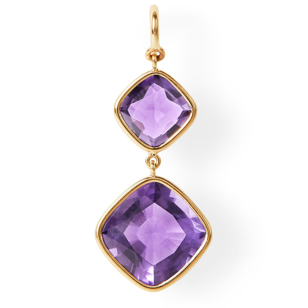 The Eva Earrings (Cushion Cut Amethyst Double Drop Earrings in 18ct Gold)