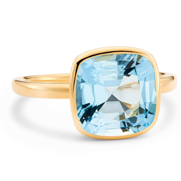 The Grace (Cushion Cut Blue Topaz in 18ct Gold)