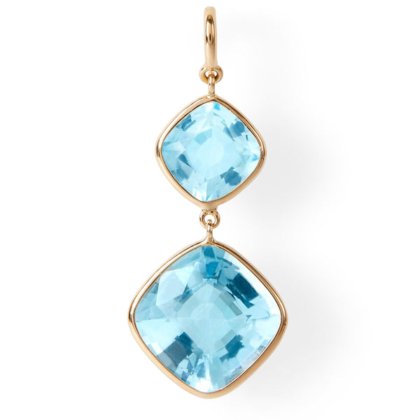 The Grace Earrings (Cushion Cut Blue Topaz Double Drop Earrings in 18ct Gold)
