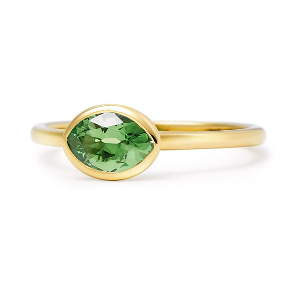 The Greta - Baby (Moval Cut Green Tsavorite in 18ct Gold)