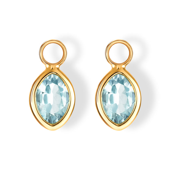 The Grace Charms (Moval Cut Blue Topaz in 18ct Gold)