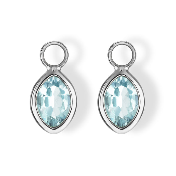 The Grace Charms (Moval Cut Blue Topaz in 18ct White Gold)