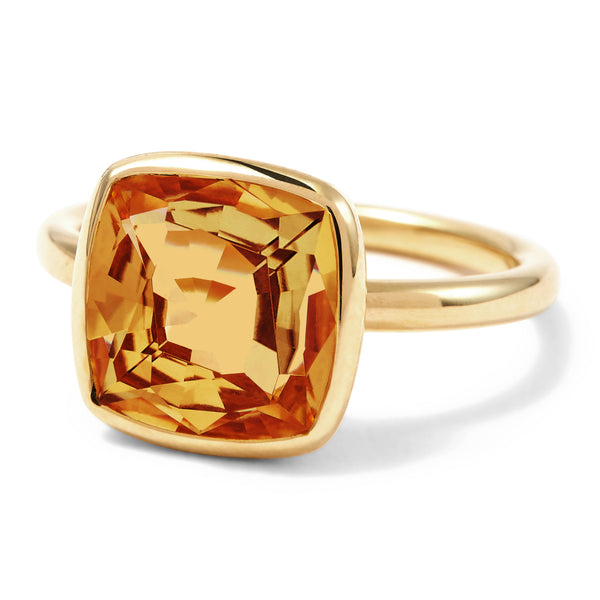 The Josephine (Cushion Cut Dark Citrine in 18ct Gold)