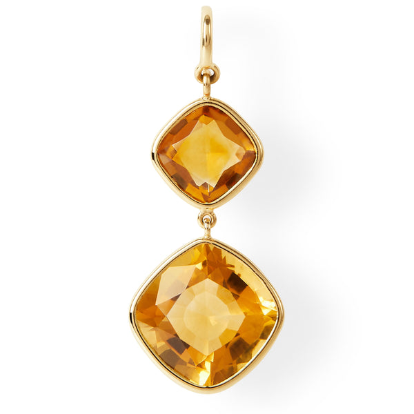 The Josephine Earrings (Cushion Cut Dark Citrine Double Drop Earrings in 18ct Gold)