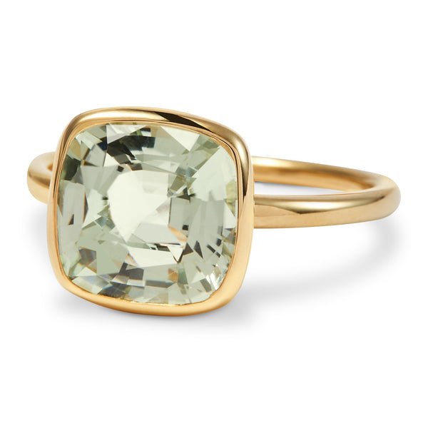 The Kate (Cushion Cut Prasiolite in 18ct Gold)