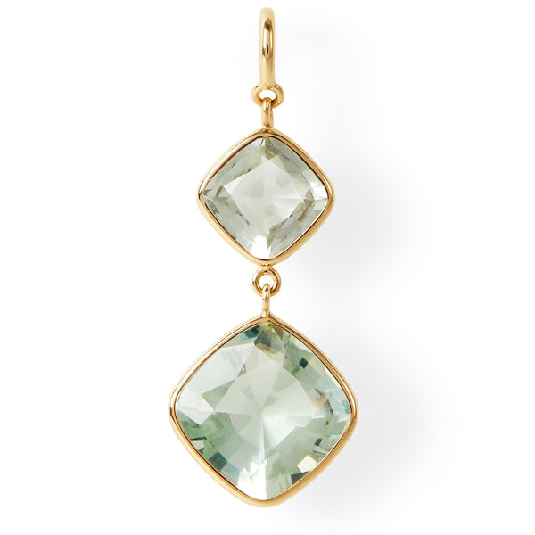 The Kate Earrings (Cushion Cut Prasiolite Double Drop Earrings in 18ct Gold)