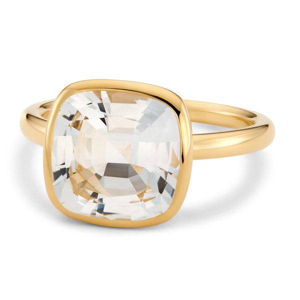 The Nicole (Cushion Cut White Topaz in 18ct Gold)
