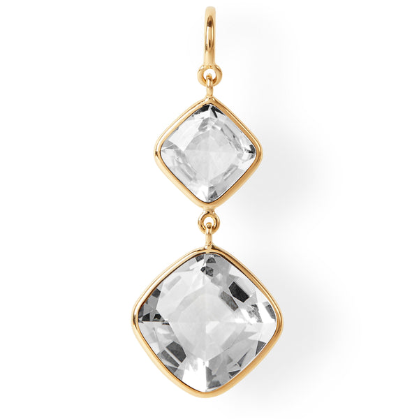 The Nicole Earrings (Cushion Cut White Beryl Double Drop Earrings in 18ct Gold)