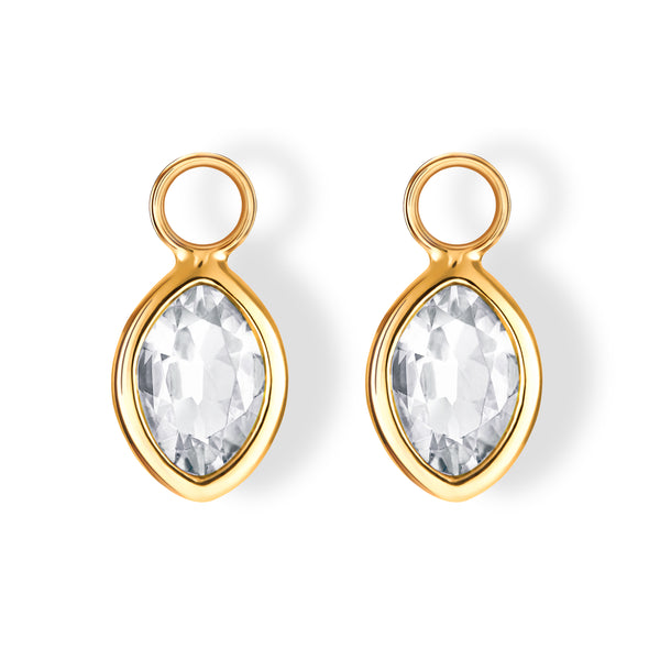 The Nicole Charms (Moval Cut White Topaz in 18ct Gold)