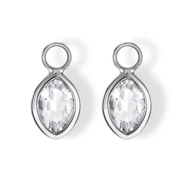 The Nicole Charms (Moval Cut White Topaz in 18ct White Gold)
