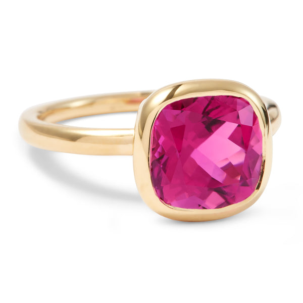 The Sophie (Cushion Cut Hot Pink Tourmaline in 18ct Gold)